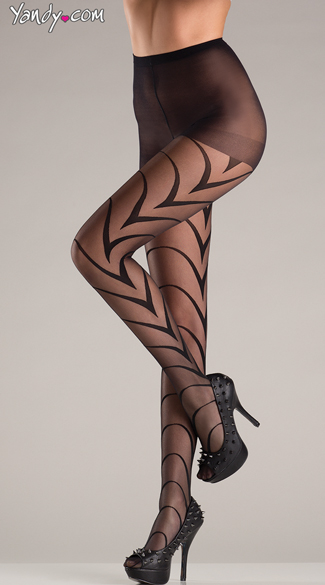 Art Deco Pantyhose, Artsy Black Pantyhose, Black Patterned Tights