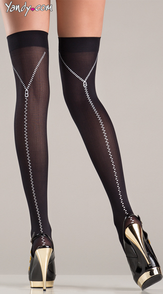 Thigh Highs With Faux Zipper, Sexy Black Thigh Highs, Zipper Thigh Highs