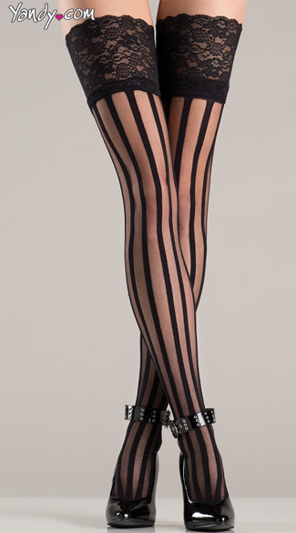 Striped Thigh Highs With Lace Top, Sexy Striped Thigh Highs, Lace Top Stockings
