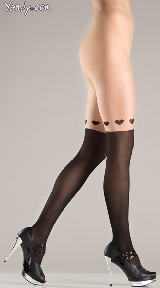 Pantyhose With Wrap Around Hearts Design, Sexy Hearts Nude Pantyhose, Nude And Black Tights