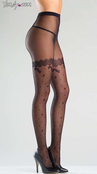 Dreamy Polka Dotted Sheer Tights, Sexy Polka Dot Tights, Sheer Dot Pantyhose