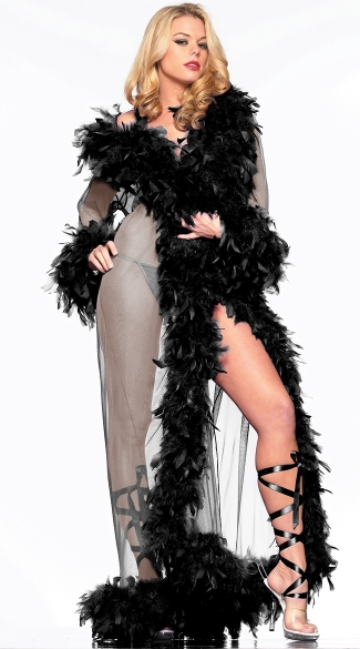Deluxe Black Feather Robe, Long Black Robe, Black Mesh Robe