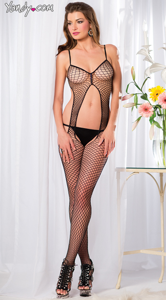 Fishnet Bodystocking With Cutouts, Sexy Open Crotch Bodystockings, Full Length Lingerie