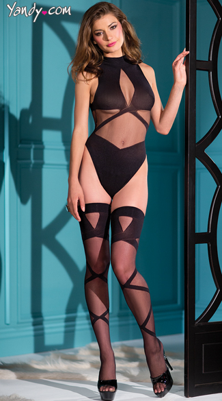 Plus Size Two Piece Woven Teddy, Plus Size Sexy Black Bodysuits, Plus Size Seductive Teddy With Thigh Highs
