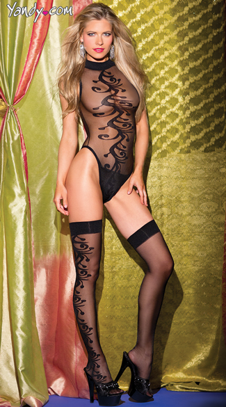 Plus Size Two Piece Mesh Teddy Set