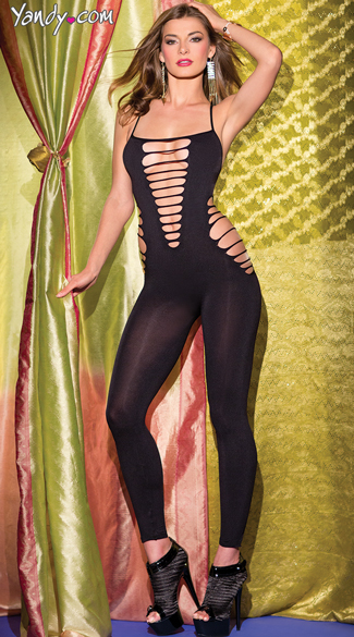 Fiercely Sexy Bodystocking, Bodystockings With Cutouts, Black Full Length Bodysuits