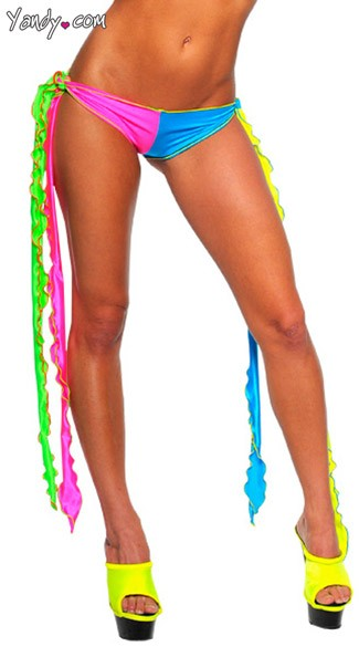 Neon Long Tie Go-Go Bottoms, Multicolored Tie Bottom