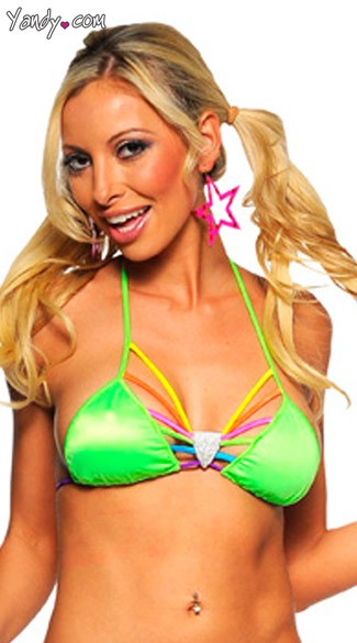 Neon Green Top With Rainbow Strap Bra