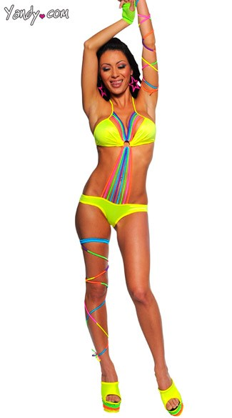 Sexy Rainbow Black-Light Receptive Monokini, Neon Multicolored Monokini