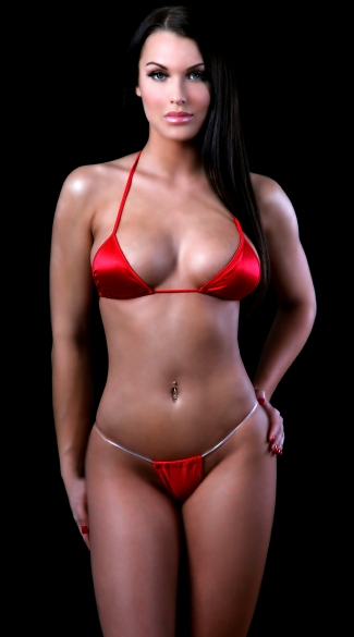 Tri Top and Invisible Strap Thong, Red Bra and Panty Set