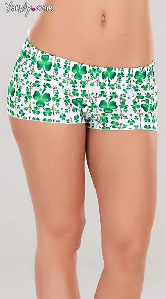 St. Patrick\'s Day Pajama Shorts, Shamrock PJ shorts, Cute Green Lounge Shorts
