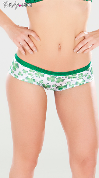 Seductive Shamrock Shorts, Form Fitting St Patricks Day Shorts, Green Booty Shorts