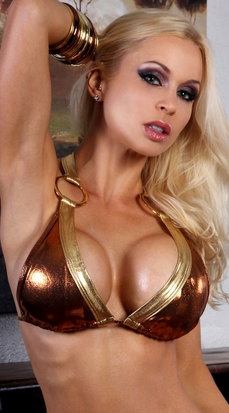 Metallic Gold O-Ring Halter Top
