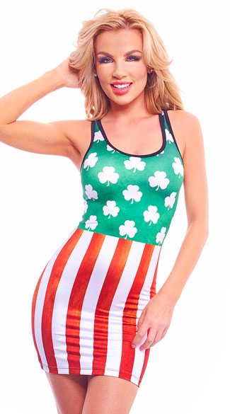 Irish-American Striped Dress, Sexy Irish-American Striped Dress, Irish dress, Irish mini dress, st patricks day dress, st patricks day mini dress