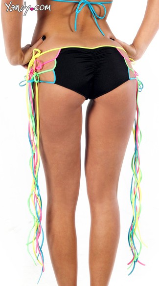 Neon Rainbow Fringe Tie Side Scrunch Back Shorts