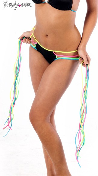 Neon Rainbow Fringe Tie Side Scrunch Back Shorts, Sexy Neon Rave Shorts