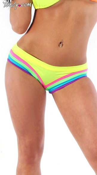 Scrunch Back Neon Rainbow Raver Shorts, Sexy Neon Shorts, Sexy Neon Panties