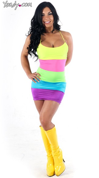 Neon Rainbow Backless Dress, Sexy Neon Dress, Neon Striped Dress