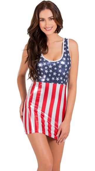 Sexy Flag Tank Dress, 4th of July Dress, Sexy Flag Lingerie