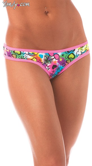 Scrunch Back Graffiti Panty, Neon Patterned Panty