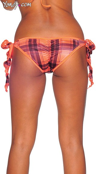 Plaid Print Tie Side Scrunch Rio Shorts