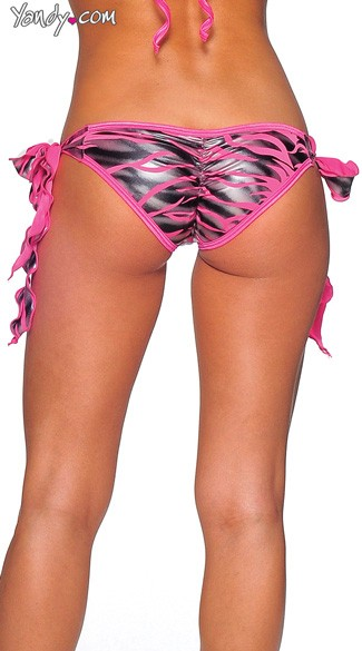 Zebra Print Tie Side Scrunch Rio Shorts
