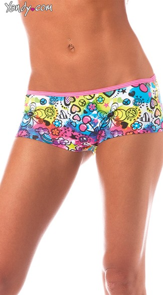 Scrunch Back Graffiti Boyshorts, Neon Patterned Boyshorts
