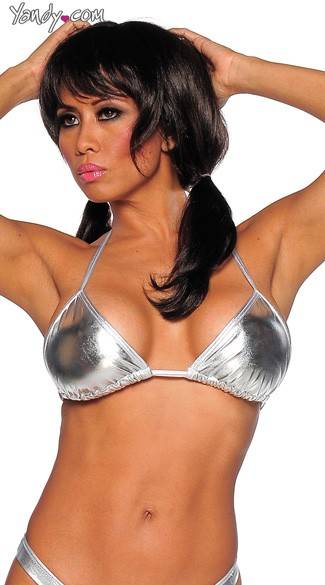 Metallic Triangle Top, Metallic Bikini Top, Metallic Tri Top
