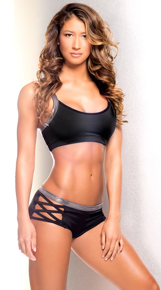 Iron Criss-Cross Dance Set, Iron Criss-Cross Sports Bra, Strappy Sports Bra, Criss-Cross Sports Bra, Iron Criss-Cross Shorts, Black and Silver Shorts, Black Shorts
