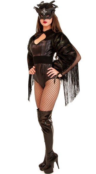 Deluxe Midnight Crow Costume, Sexy Black Bird Costumes, Black Crow Halloween Costume