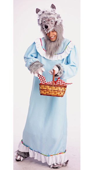 Big Bad Granny Wolf Costume, Red Riding Hood Wolf Costume for Men, Mens Granny Wolf Costume