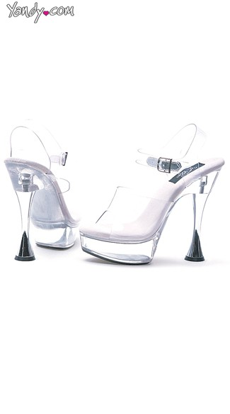 "6"" Clear Silver Cone Heel Sandal"