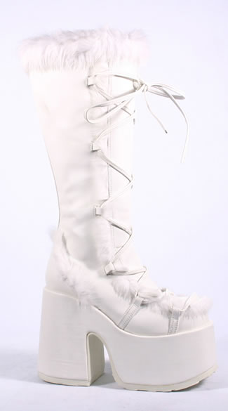 Furry Snow Warrior Platform Boots, Furry Lace Up Platform Boots, Sexy Platform Boots