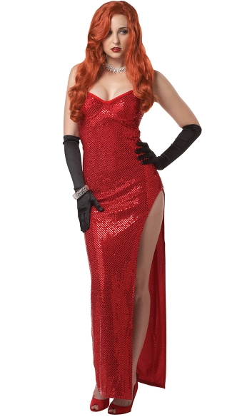 Sexy Jessica Rabbit Costume, Adult Rabbit Halloween Costume, Silver Screen Sensation