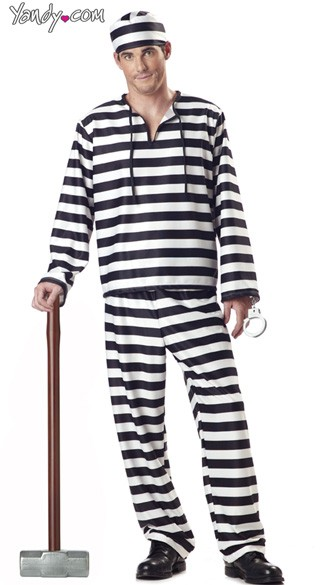 Convict Costume, Adult Jailbird Halloween Costume, Mens Jail ...