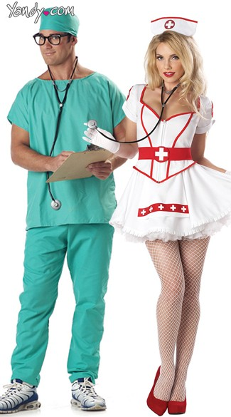 Nursing Scrubs Couples Costume, Doctors Couples Costumes, Nurse Halloween Couples Costume