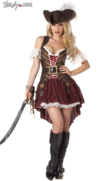 Sexy Swashbuckler Costume, Maroon Pirate Costume, Pirate Beauty Costume