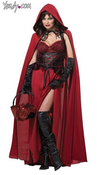 Dark Red Riding Hood Costume, Red Riding Hood Halloween Costume, Red Riding Hood Cape