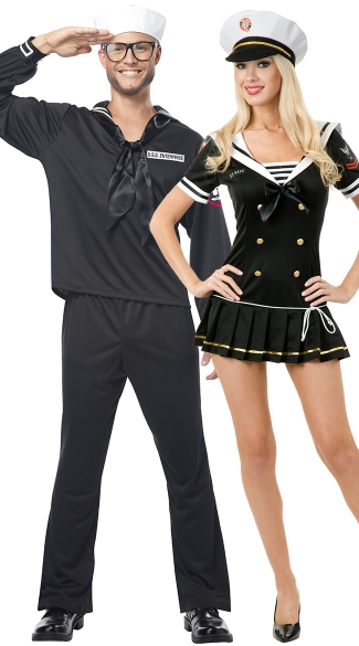 High Seas Couples Costume, Mens Navy Sailor Costume, Navy Brat Costume, Nautical Costume, Nautical Navy Costume, Military Costume, Sailor Costume