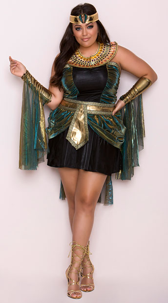 Plus Size Egyptian Goddess Costume, Plus Size Cleopatra Halloween Costume