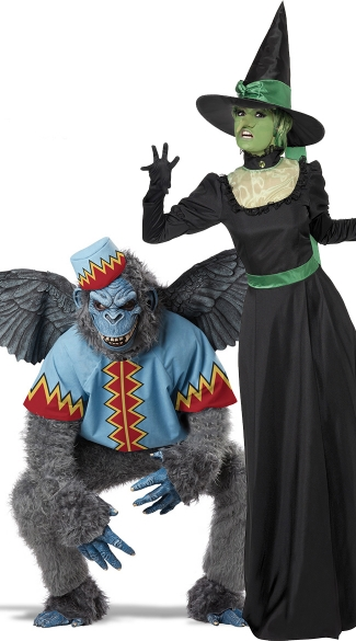 Distant Fairytale Land Couples Costume, Flying Monkey And Witch Couples Costume, Witch And Monkey Couples Costume