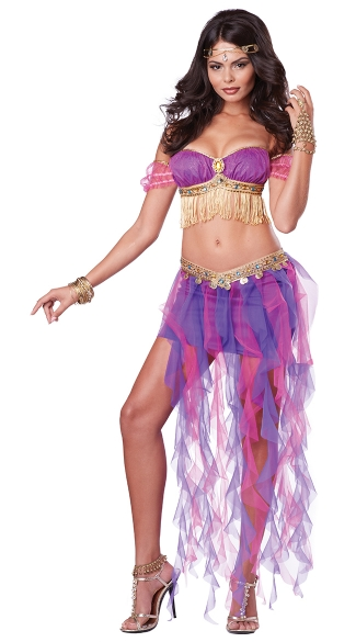 Gypsy Belly Shaker Costume, Belly Dancing Costume, Pink Harem Costume