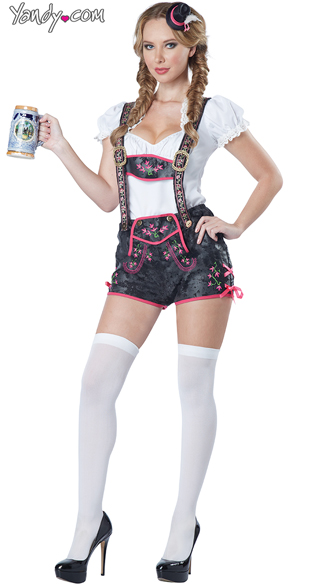 Flirty Lederhosen Costume, Sexy German Costume, Sexy Beer Girl Costume