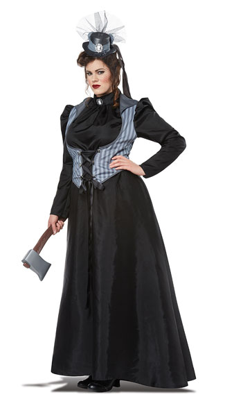 Plus Size Lizzie Borden Ax Murderess Costume, Plus Size Murderer Costume, Plus Size Victorian Costume