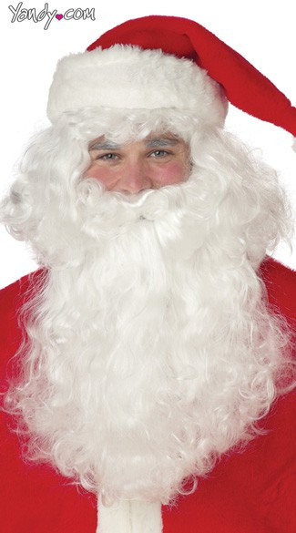Santa Claus Beard and Wig, Mens Santa Costume Beard