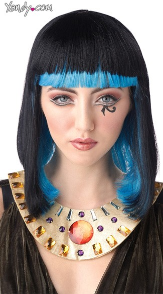 Egyptian Sapphire Wig, Black and Blue Wig, Black Cleopatra Wig