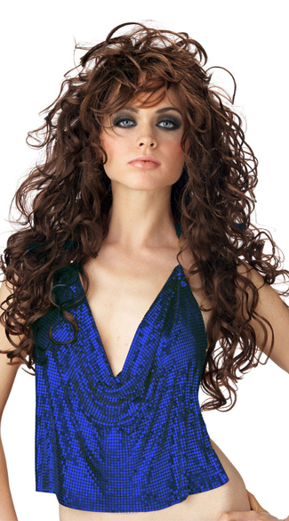 Brunette Seduction Wig, Brunette Curled Wig