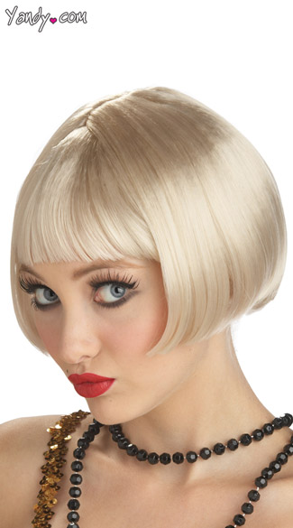 Blonde Flapper Wig, Flirty Flapper Wig, Short Platinum Blonde Wig