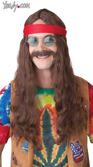 Hippie Man Auburn Wig and Moustache Set, Hippie Moustache, Hippie Wigs for Men