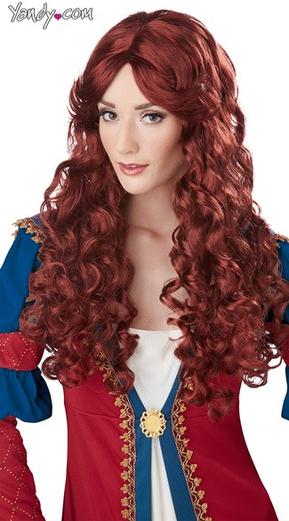 Renaissance Wig, Long Curly Red Wig, Curled Red Wig, Long Auburn Wig